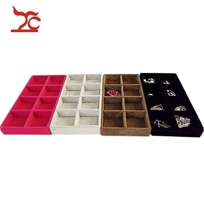 Multi-Purpose Ring Necklace Compartment Velvet Holder Jewelry Display Tray Case