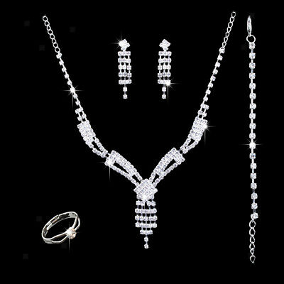 MagiDeal Bridal Jewelry Set Crystal Diamante Necklace Earrings Bracelet Ring