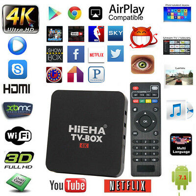 2017 HiEHA NEW 4K 17.3 Quad Core Smart Android TV Box Media Player Movie UK