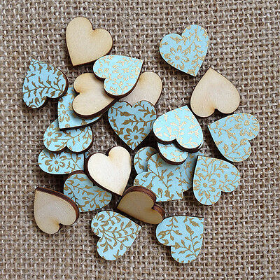 Mini Wooden Duck Egg Blue Heart Table Confetti, Wooden Hearts, Wedding, Crafts