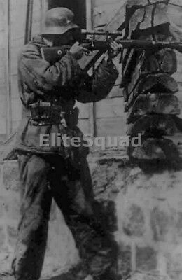 WW2 Photo Picture German SS Sniper K98 Mauser firing in front 270