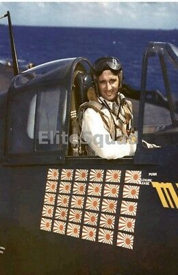 WW2 Photo The US Navy's highest-scoring ace McCampbell in F6F Hellcat WWII 203