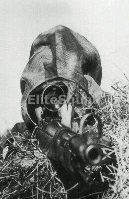 WW2 Photo Picture German soldier sniper with mauser k98 and woodland camo 272