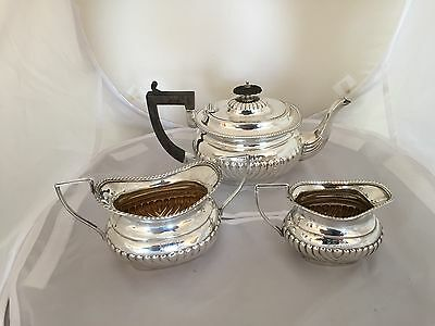 Beautiful 3 Piece Solid Silver Batchelor Tea Set (Chester 1889 & Birm 1898)