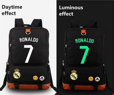 New Ronaldo Real Madrid 7 canvas Bag Casual luminous Backpack School Bag