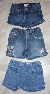 OLD NAVY + +  SIZE 3 T BLUE JEANS SHORTS ~ EMBROIDERED EMBELLISHED LOT of 3