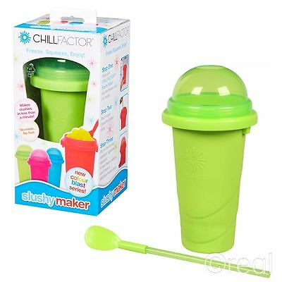 New Chill Factor Green Slushy Maker Frozen Ice Drink Squeeze Official