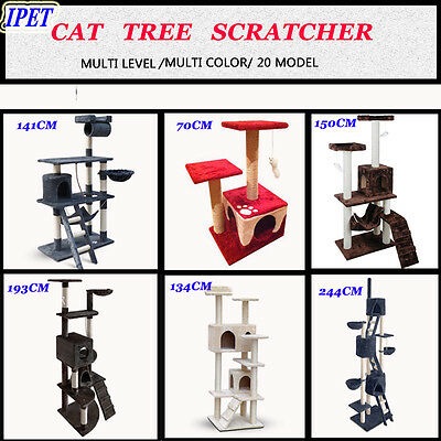 0.7-2.44M Cat Scratching Post Tree Scratcher Pole Gym Toy House Condo Furniture