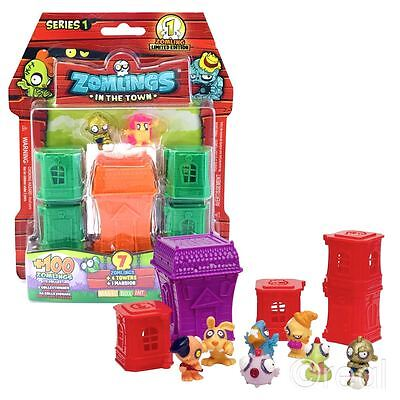 New Series 1 Zomlings 7 Figure Pack + 4 Towers & Mansion Official
