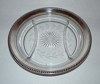Nice Sterling Silver Cut Glass Edged Divided Dish, Poss. Wallace, Ex. Condition.