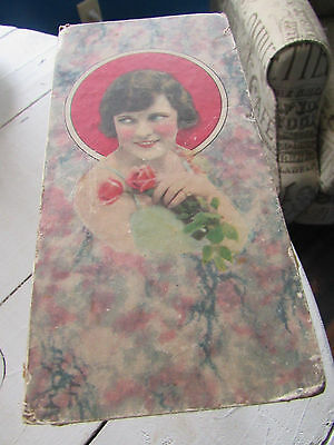 Antique Candy Chocolate Box Vintage Victorian Lady With Flowers