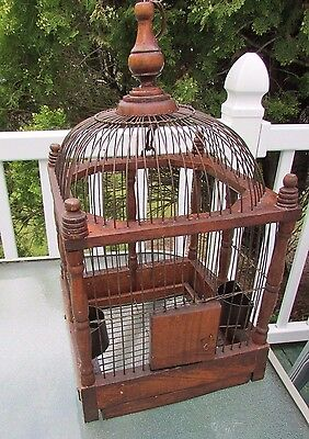 """Antique Victorian Bird Cage ~ Wood & Metal Constructions 14"""" X 10"""" X 10"""" Approx"""