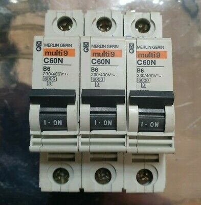 3 Pcs Of Merlin Gerin Multi9 C60N B6 (R3S3.6B1)