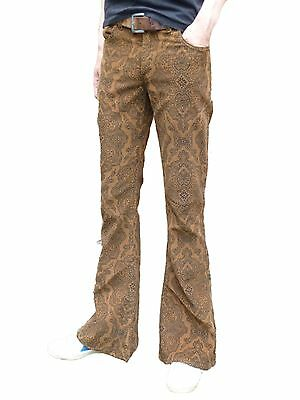 FLARES Brown Paisley Mens Bell Bottoms Corduroy Pants vtg Hippie trousers 60's