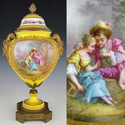 Antique French Sevres Porcelain Urn Satyr Bronze Handles Hand Painted Scene