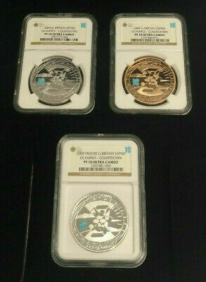 Set of (3) 5 Pound Countdown to 2012 London Olympics Proof 70 Ultra Cameo