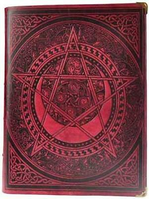 "8""x10""x3"" Red Leather CELTIC SPIRAL PENTAGRAM Book of Shadows, Journal, Diary!"