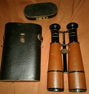 Rare Vintage Military Chevalier Army & Navy Day Night Leather Binoculars w Case