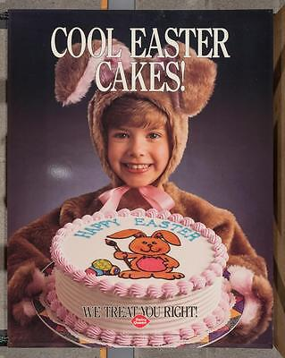 Vintage Dairy Queen Promotional Poster Cool Easter Cakes 1990 dq2