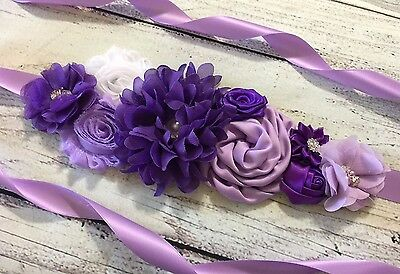 Purple /Lavender/White Vintage Maternity Sash Belt /Bridal Sash/Flower Girl Sash