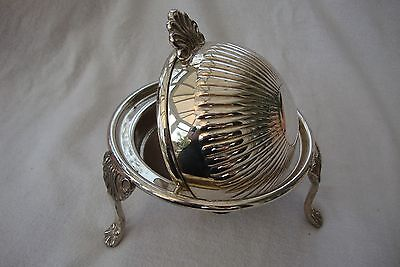 Antique Sheffield Silver Plate Epns Small Lidded Serving Bowl Globe Shaped
