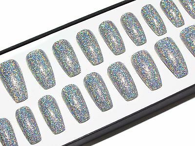 Silver Glitter Coffin Hand Painted Press On Faux False Artificial Glue On Nails