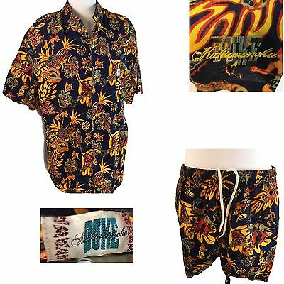 Vtg Cabana Set Duke Kahanamoku Hawaiian Shirt Shorts Swim Trunks Hula Native XL