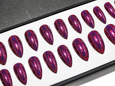 Burgundy Red Holographic Stiletto Press On Fake Faux False Acrylic Glue On Nails