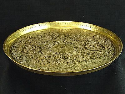 Large Serving Platter Intricate Hand Engraved Animals Antique Indian Brass Tray