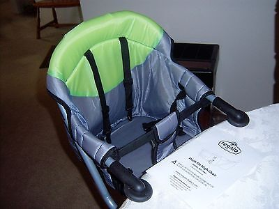 Regalo Easy Diner Portable Hook On Table High Chair Booster Seat Gray & Green