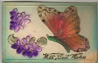Animals - Butterfly, With Best Wishes - Postcard