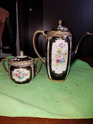 Vintage Nippon Teapot Hand Painted Gold Accent Pattern on Black
