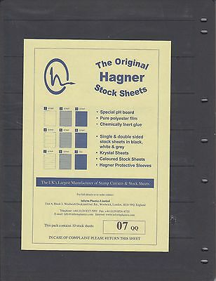 Hagner Stamp Album Sheets Pack of 10 Single Sided - 7 Strips