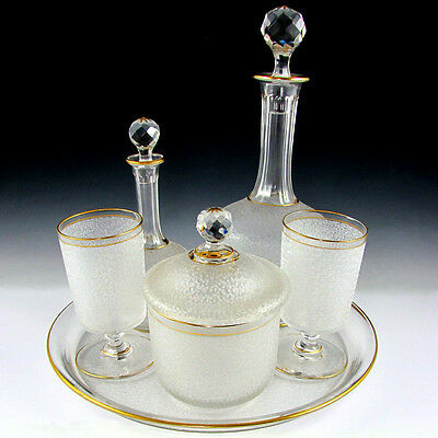 Antique French Saint Louis Crystal Cameo Etched Decanter Carafe Set Absinthe