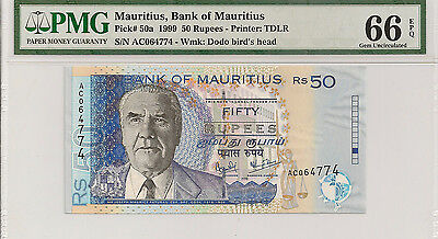 P-50a 1999 50 Rupees, Bank of Mauritius, PMG 66EPQ Finest Known