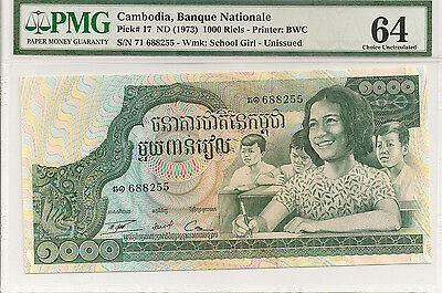 P-17 1973 1000 Riels, Cambodia Banque Nationale, PMG 64 Nice