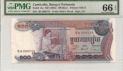 P-15a 1973 100 Riels, Cambodia Banque Nationale, PMG 66EPQ Finest Known