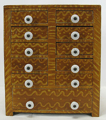 Antique 19th c Painted Pine Eleven Drawer Jewelry Chest/Spice Cabinet Box NR yqz