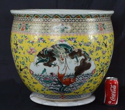 Huge Chinese Porcelain Qing Dynasty Famille Jaune Fish Bowl Jardiniere