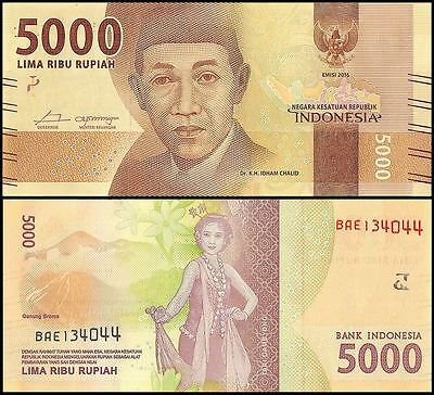 Indonesia 5,000 (5000) Rupiah, 2016, P-NEW, UNC, Dr. K.H Idham Chalid