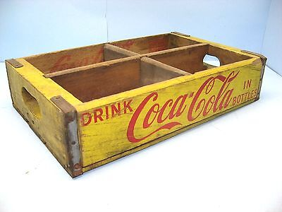 "Vntge 1962 Chattanooga Yellow ""Drink Coca-Cola In Bottles"" Wood Case, 4 6-Packs"