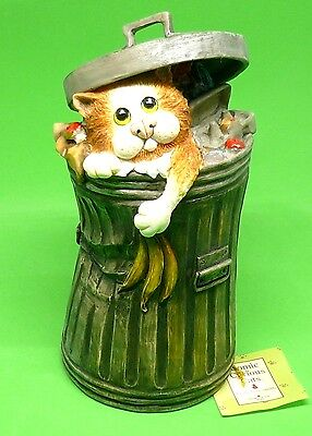 Comic and Curious Cats New Rare Figurine The Scrounger Garbage Cab Money Bank
