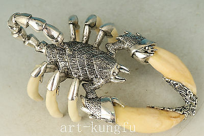 Chinese Tooth Collection Handmade Carved Scorpion Statue Pendant Decoration