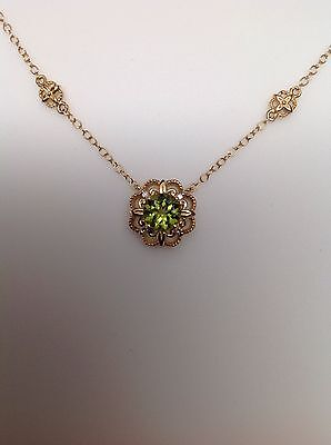 14K Yellow Gold Peridot and Diamond Cluster Pendant with Detailed Necklace New