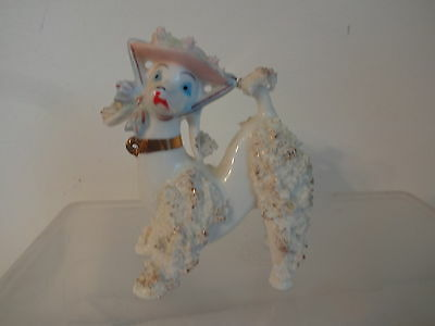 Vintage Japan Spaghetti Poodle Figurine In Pink Blue Hat With Lipstik Cute RARE