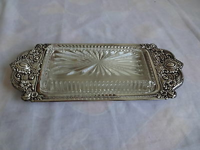Vtg Antique Jovle Co Victorian  Glass Cover Butter Dish Silver Plate Silverplate