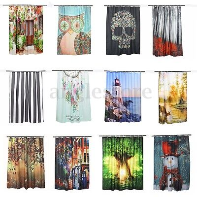 12 Pattern Shower Curtain Waterproof Polyester Fabric Bath Bathroom With 12 Hook