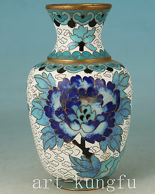Chinese Old Cloisonne Collection Hand Painting Flower Vase Bottle