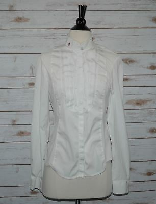 Cavalleria Toscana White Ruffle Technical Show Shirt - Women's Large