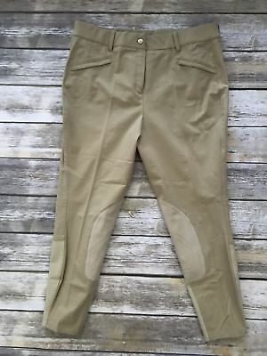 Ariat Tan Performer Mid Rise Front Zip Breeches- Women's 36R
